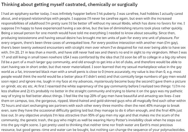 These are just some of the reasons men have posted online for why they are choosing to self-castrate with chemicals