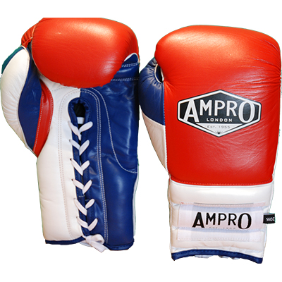 ampro lace up professional boxing gloves